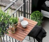 Breathtaking Apartment Balcony Furniture White Bowl Gray Floor Wrought Iron Balcony Lawn Modern