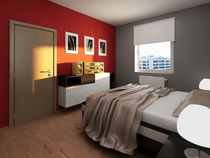 Glamorous Apartment Bedroom Ideas Red Wall Brown Blanket Rustic How To Decorate A Glam