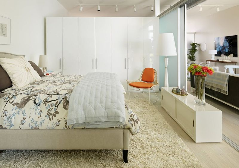 Inspiring Apartment Bedroom Ideas White Blanket Orange Cool Rooms White Blue Shelving