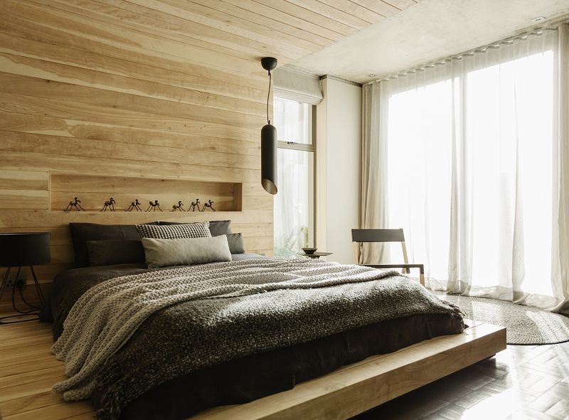 Interesting Apartment Bedroom Ideas White Curtains Brown Wood Roof Wall Interior Layout Purple Black