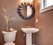 Picturesque Apartment Bathroom Decorating Ideas Brown Wall White Sink Storage Decoration Makeovers Lighting Flooring