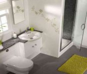 Surprising Apartment Bathroom Decor Green Rug Gray Floor For Spaces Tiny How To Decoration